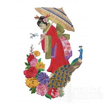 Swngg102 A Geishas Garden Embroidery Design