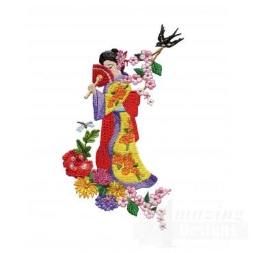 Swngg105 A Geishas Garden Embroidery Design