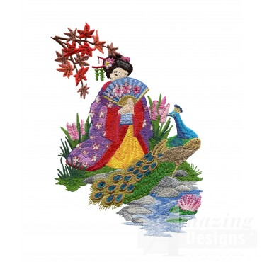 Swngg108 a geishas garden embroidery design for Garden embroidery designs free