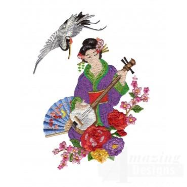 Swngg109 A Geishas Garden Embroidery Design