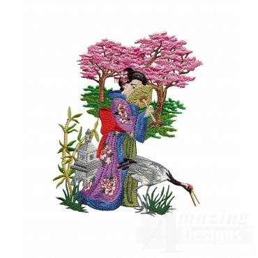 Swngg113 A Geishas Garden Embroidery Design