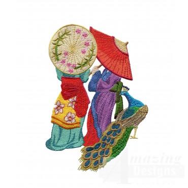 Swngg118 A Geishas Garden Embroidery Design