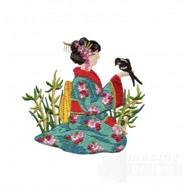 Swngg120 A Geishas Garden Embroidery Design