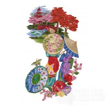 Swngg135 A Geishas Garden Embroidery Design