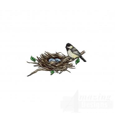 Bird On Nest Embroidery Design