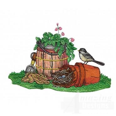 Nesting Chickadee Gardening Embroidery Design