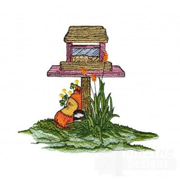 Garden Birdfeeder Embroidery Design