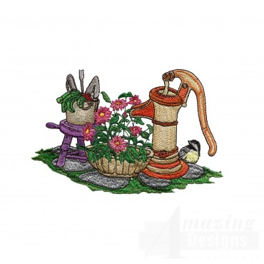 Watering The Flowers Embroidery Design