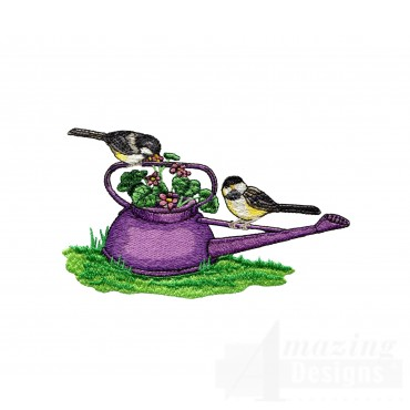 Birds On Watering Can Embroidery Design
