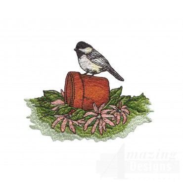 Chickadee And Flowers Embroidery Design