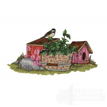 Chickadee And Bird Houses Embroidery Design