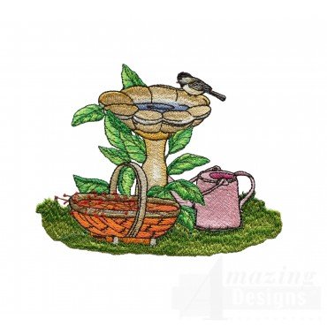 Birdbath Embroidery Design