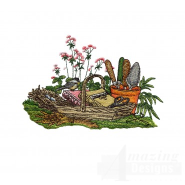 Gardening Books And Tools Embroidery Design