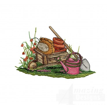 Wheel Barrow And Tools Embroidery Design
