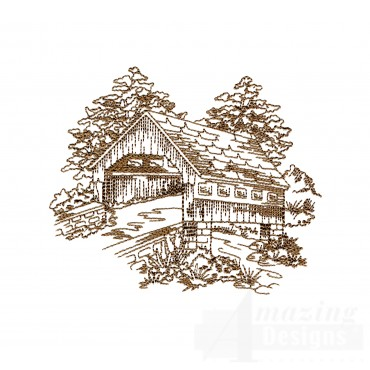 Covered Bridge Swnscb111 Embroidery Design