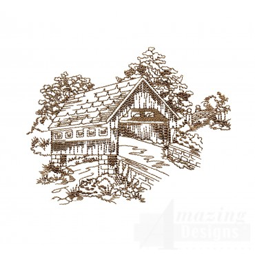 Covered Bridge Swnscb114 Embroidery Design