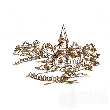 Church And Farm Swnscb121 Embroidery Design