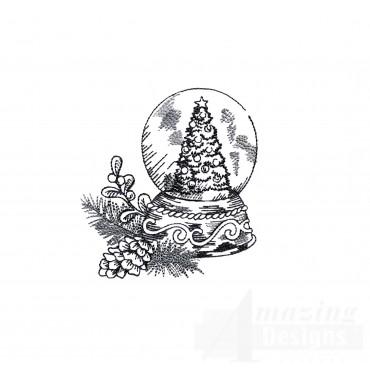 Snow Globe Vignette Embroidery Design