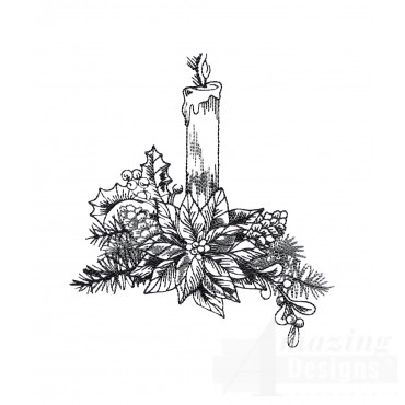 Candle Vignette Embroidery Design