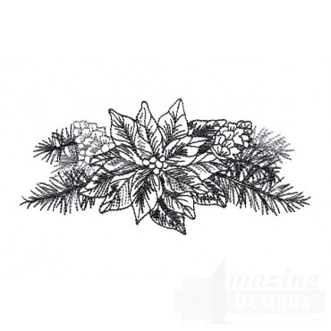 Poinsettia Vignette Embroidery Design