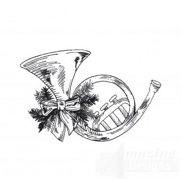 Horn Vignette Embroidery Design