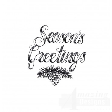 Seasons Greetings Vignette Embroidery Design