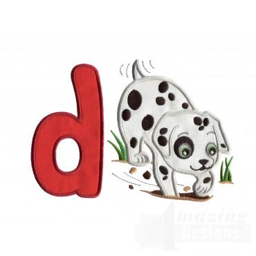 Applique D Digging Dog Embroidery Design