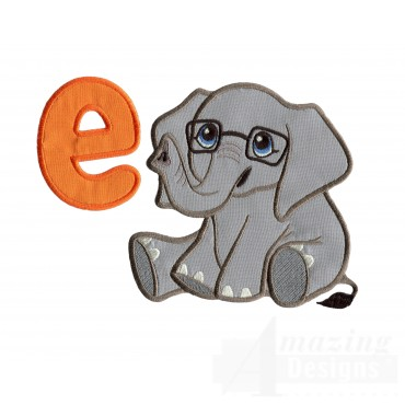 Applique E Elephant Embroidery Design