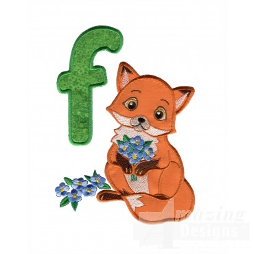 Applique F Fox With Flowers Embroidery Design