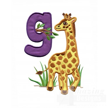 Applique G Giraffe In Grass Embroidery Design