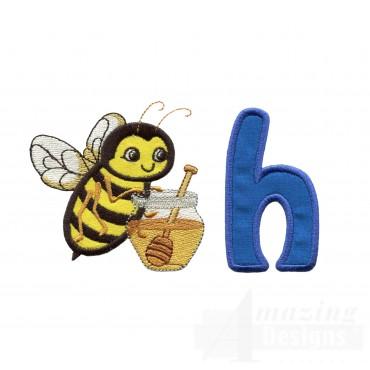 Applique H Honeybee Honey Embroidery Design