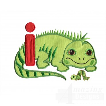 Applique I Iguana And Inchworm Embroidery Design