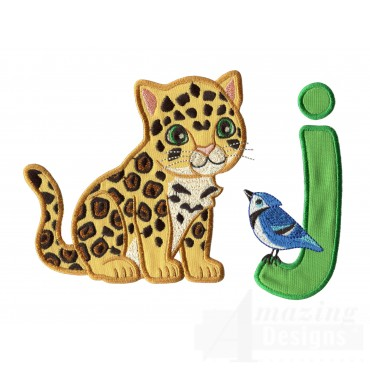 Applique J Jaguar And Jay Bird Embroidery Design