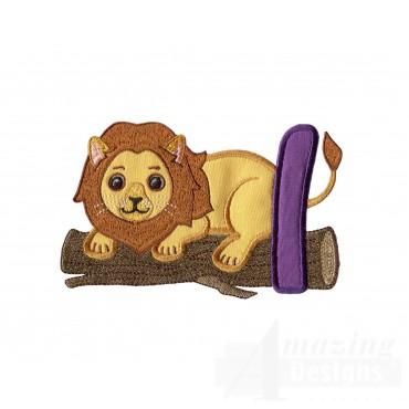 Applique L Lion On Log Embroidery Design