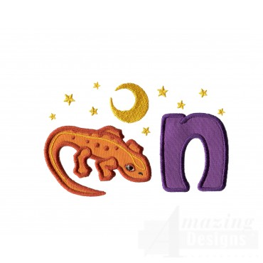 Applique N Newt At Nighttime Embroidery Design