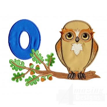 Applique O Owl In Oak Tree Embroidery Design
