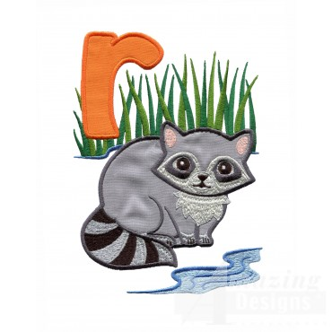 Applique R Racoon On River Embroidery Design