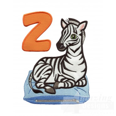 Applique Z Zebra And Zipper Embroidery Design