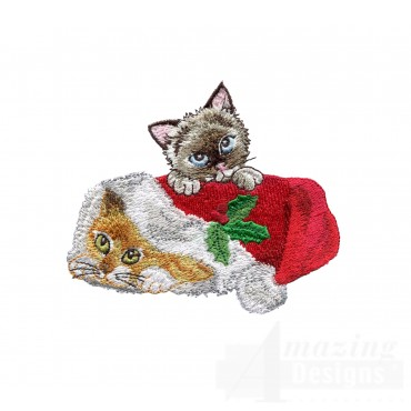 Kittens In Santa Hat Embroidery Design