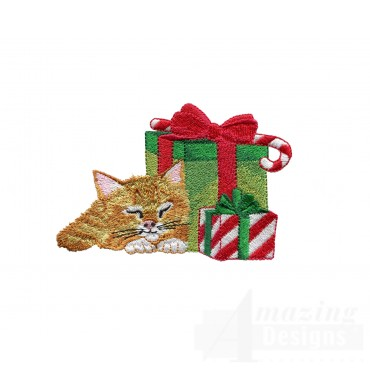 Sleeping Kitty With Presents Embroidery Design