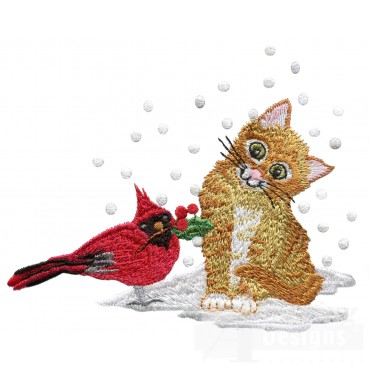 Kitty With Cardinal Embroidery Design