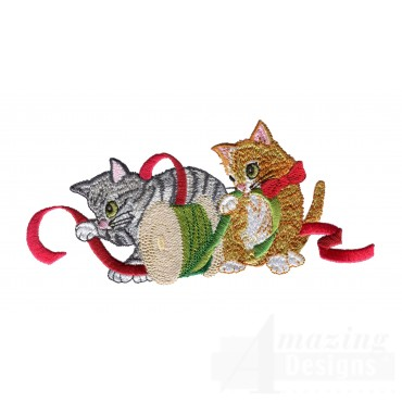 Kitties Playing With Ribbon Embroidery Design