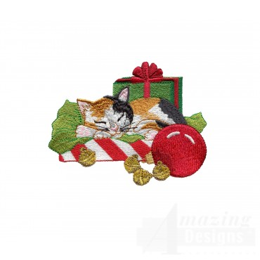Nap Kitty With Presents Embroidery Design