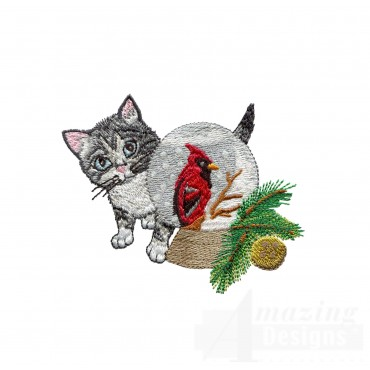 Kitty And Snowglobe Embroidery Design