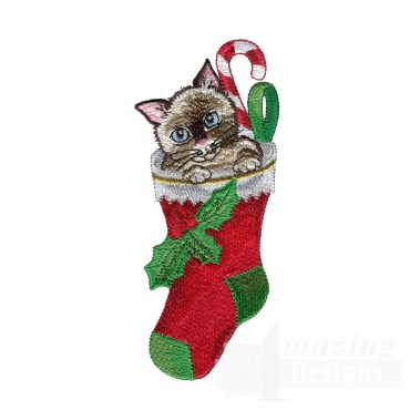 Kitty In Stocking Embroidery Design