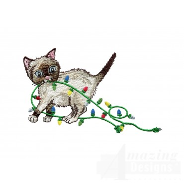 Kitty With Christmas Lights Embroidery Design