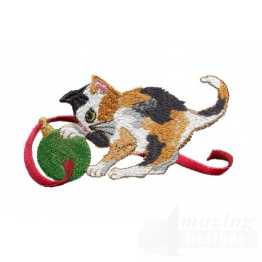 Kitty With Ornament Embroidery Design