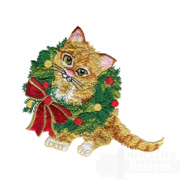 Kitty In Wreath Embroidery Design