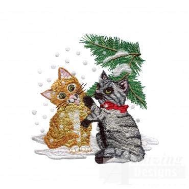 Snow Kitties Embroidery Design