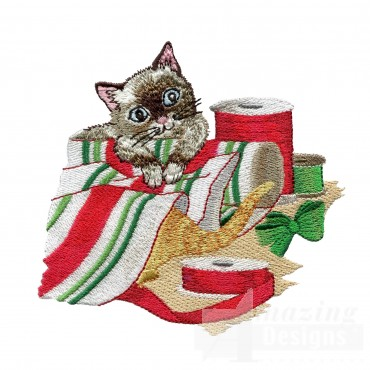 Wrapping Kitties Embroidery Design